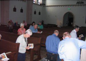 Retreatants praying Stations
